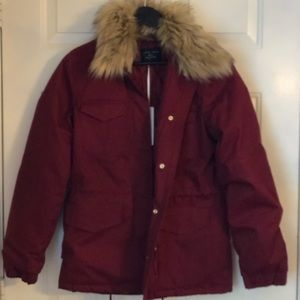 Faux fur collared utility jacket